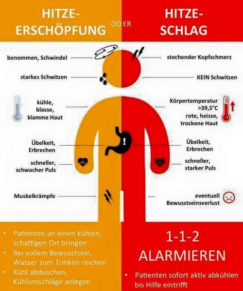 Hitzeerschöpfung und Hitzeschlag